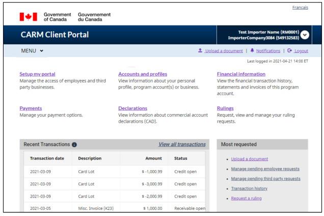 carm client portal main screen